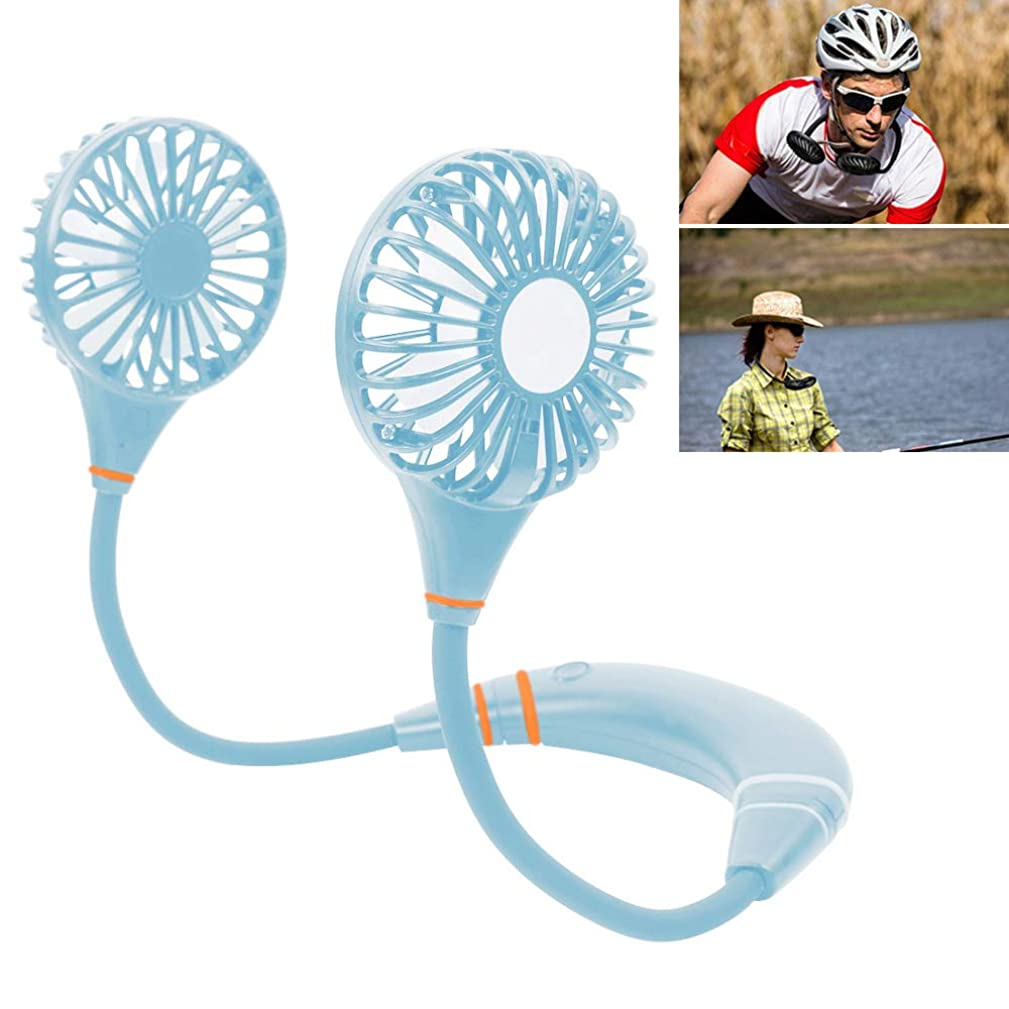 Portable USB Rechargeable Battery Mini Hand Free Fan - Headphone Design Wearable Neckband Fan Necklance Fan Cooler Fan with Dual Wind Head - Fan for Home, Office, Travel, Camping-Blue