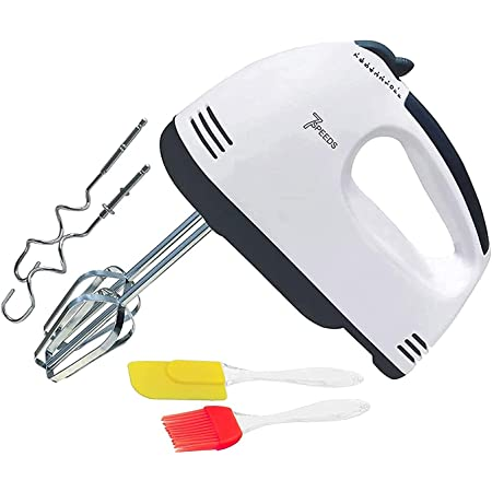Easymart 260 Watt Hand Blender Mixer Electric Egg Beater For Cake Making and Beater For Whipping Cream Beater For Mix Cream Beater For Kitchen With 7 Speed Setting with free silicon oil brush and spatula for kitchen