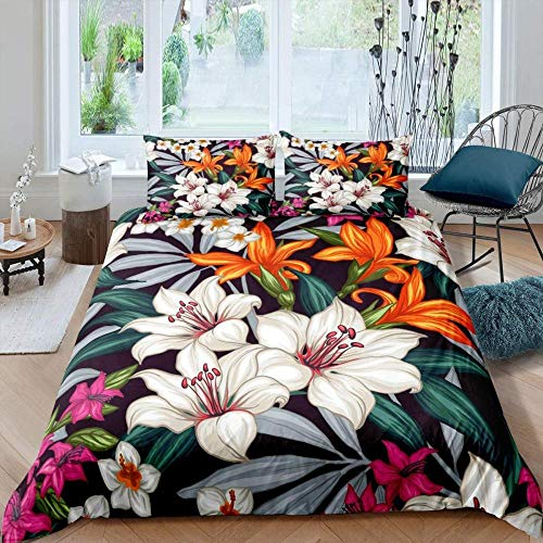 Touoahi Duvet Cover Set Watercolor Flower Plant Nature Garden Colorful Leaves Super King (260 X 230 Cm) Microfiber Durable Fade Resistant Fabric-Include 1 Quilt Cover+2 Pillowcases-Soft Hypoallergeni