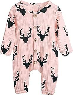 Hmlai Clearance Newborn Baby Boy Girl Christmas Jumpsuit Long Sleeve Xmas Deer Onesie Bodysuit Button Cotton Linen Romper