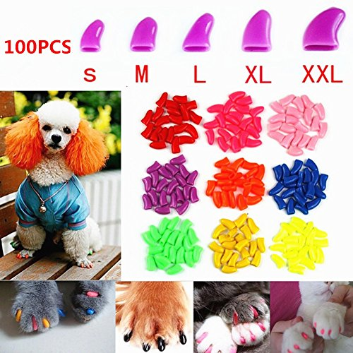 Brostown 100Pcs Soft Pet Dog Nail Caps Claws Control Paws of 5 Kinds 5Pcs Adhesive Glue + 5pcs...