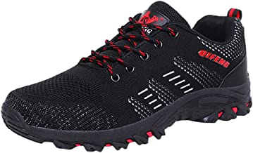RQWEIN Men's Breathable Mesh Hiking Shoes Non-Slip Lace-Up Climbing Sneakers Fashion Sneakers Walking Shoes
