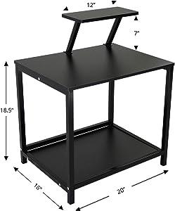Jerry & Maggie - Nightstands Modern Style W Desktop Shelf Hollow Shelves Steel Frame & Wood Surface Panel 2 Tier Racks Space Saver Design - Bed Side Table | Ending Table Nightstand Shelves Black