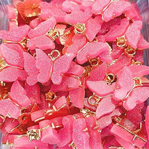 Rongxin 10 accesorios colgantes de mariposa lindos, descubrimiento de pendientes, suministros de fabricación de joyas de colores mariposa (color metálico: chapado en plata)