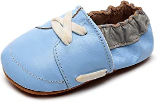 XYAN Baby Shoe Leather Shoe Round Head Soft Bottom Anti-skid Shoelace Soft Leather Running Learning Walking (Color : Light...
