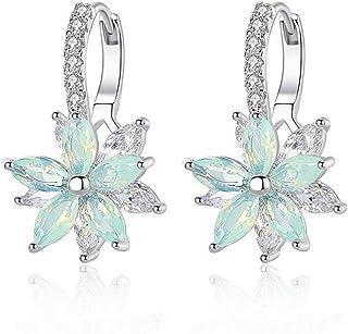 Pendientes mujer Pendientes plata con flor Cubic Zirconia Crystal Clip en pendientes para mujeres niñas Pendientes de circ...