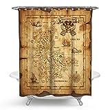 KISY Piraten-Schatzkarte Wasserdichter Bad-Duschvorhang Retro Gold Geheimnis Segel-Weltkarte Badezimmer Duschvorhang Standard Größe 177,8 x 177,8 cm, Vintage