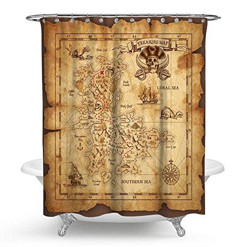 KISY Wasserdichter Duschvorhang mit Piraten-Schatzkarte, Retro-Stil, goldfarben, geheim, nautisch, Segel-Weltkarte, Badezimmer-Duschvorhang, Standardgröße 177,8 x 177,8 cm, Vintage