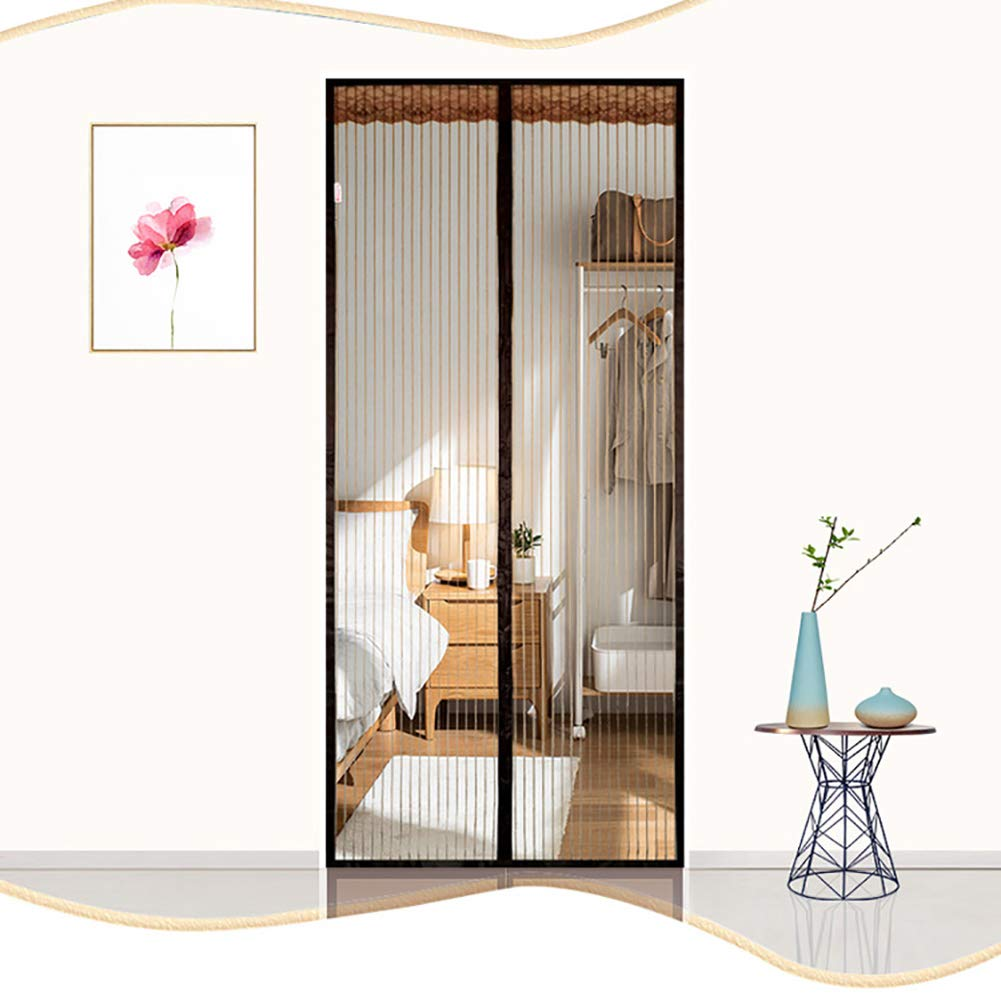 Puerta mosquitera magnética con diseño de marco, puerta corredera de cristal para patio, cortina de malla resistente para perros, red de insectos, manos libres, mantiene los insectos fuera,: Amazon.es: Hogar