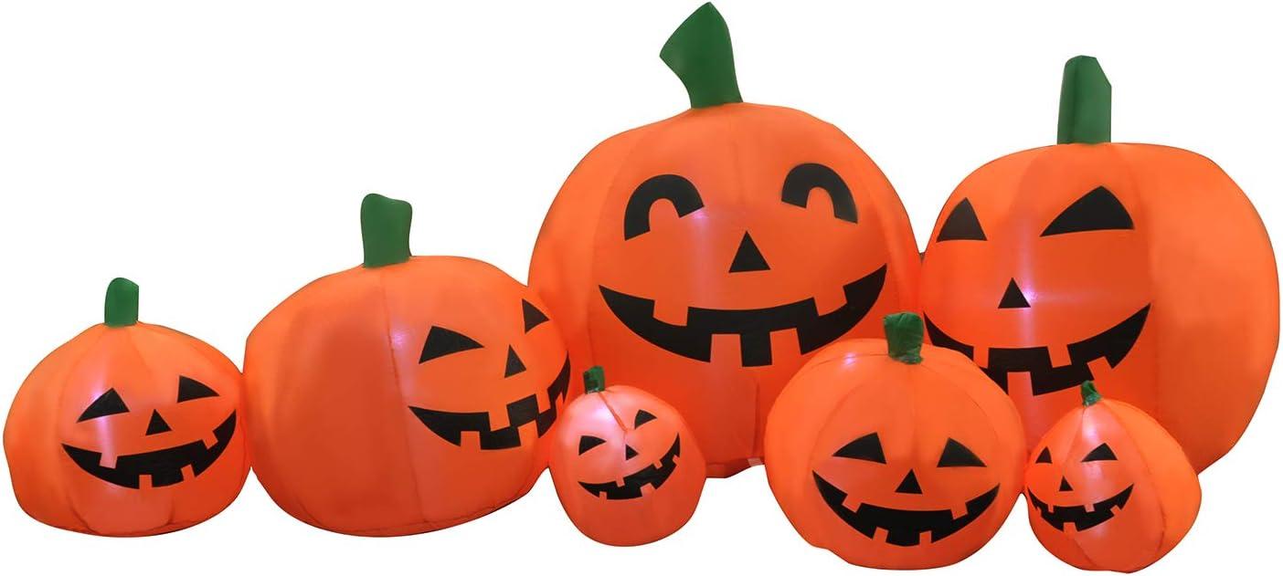 SEASONBLOW 7 Ft Halloween Inflatable Patch Pumpkin Charlotte Mall Decora Super intense SALE Family