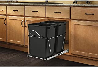 Rev-A-Shelf RV-18KD-18C S Double 35 Quart Sliding Pull Out Waste Bin Container