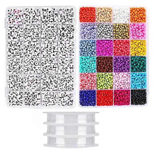 Kaxofang Kit de FabricacióN de Joyas, Cuentas para Pulseras, Juego de Manualidades con Cuentas, Alfabeto de Letras Semillas de Poni de Vidrio, Arte y Manualidades para Bricolaje