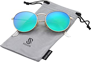 Polarized Sunglasses Classic Small Round Metal Frame for Women Men SJ1014