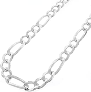 """Capital Jewelry Genuine Solid Sterling Silver Figaro Link .925 ITProLux Necklace Chains 2MM - 10.5MM, 16"""" - 30"""", Silver Ne..."""