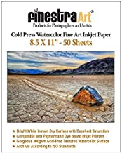 8.5 X 11 Cold Press Watercolor Fine Art Inkjet Paper 300gsm 50 Sheets