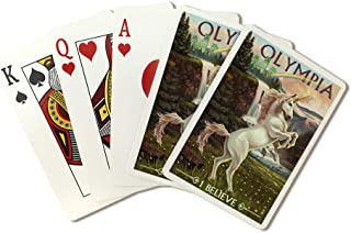 Olympia, Washington - Unicorn Scene (Playing Card Deck - 52 Card Poker Size with Jokers)