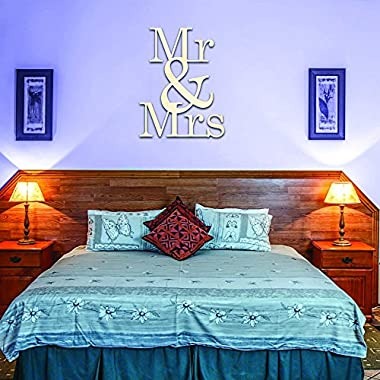 Mr & Mrs Wood Sign Home Décor Wall Art Unfinished (7.75  x 10 )