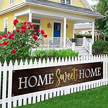 Home Sweet Home Large Banner New Home Lawn Decor Welcome Home Porch Sign Housewarming Gift Indoor Outdoor Backdrop 8.9 x 1.6 Feet