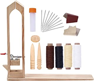 20Pcs Leather Craft Tool Set BUTUZE Leather Lacing Pony - Leather Craft Horse Clamp with Leather Sewing Needle,Waxed Thread,Leather,Wood Burnisher for Leather Working,Leather Making,Leather DIY