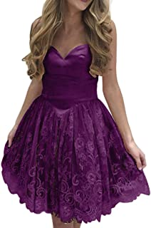 Jonlyc A Line Sweetheart Lace Short Homecoming Dresses Graduation Prom Party Gowns