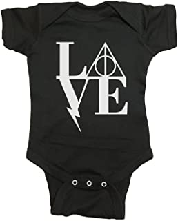 Brain Juice Tees Harry Potter Love Baby One Piece (12 Month, Midnight Black)