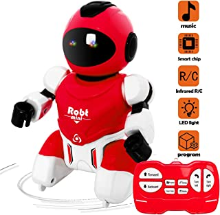 EGOERA Remote Control Robot, Educational Mini Pocket Robot Toys for Kids Intelligent Programmable RC Robot with Infrared Controller, Singing, Rotating, Maths and Tongue Twister for Kids Gift (Red)