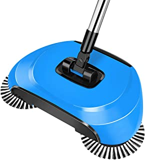 Automatic Sweeper Broom, Hand Push Non-Electric Cordless 360 Degree Rotating Floor Cleaner, Broom, Dustpan And Trash Can 3...