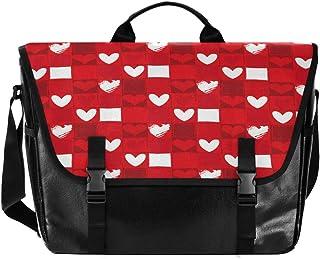 Bolso de lona con forma de corazón, cuadrado, rojo, blanco, para hombre y mujer, estilo retro, para escuela, para iPad, Ki...