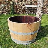 demi tonneau en chêne, tonneau à vin, barrique, tonneau en bois, bac à fleurs, table de jardin, très décoratif, résistant au gel