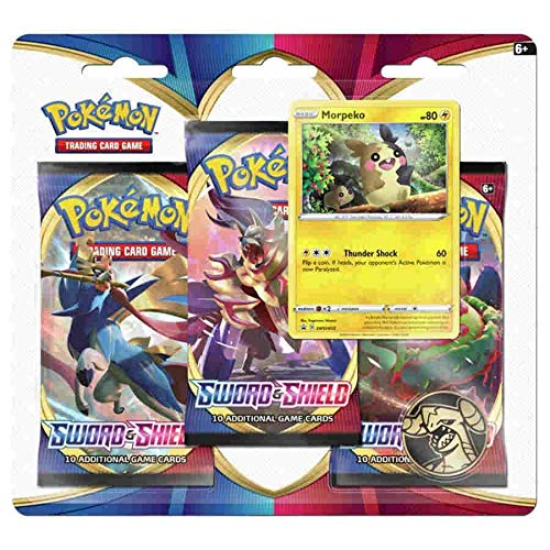 Pokemon TCG: Sword & Shield Blister Pack with 3 Booster Packs and Featuring Morpeko