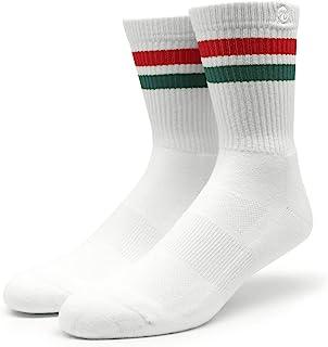 Spirit of 76, 76 Sports Crew Socks - Calcetines deportivos retro con rayas blancas y rojo y verde a rayas a la altura del tobillo unisex