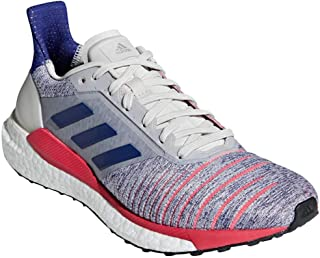 adidas Women's Solar Glide Running Shoes Raw White/Active Blue/Shock Red 10
