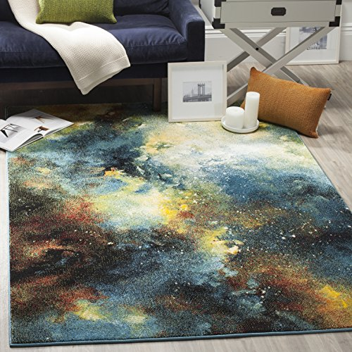 Safavieh Galaxy Collection GAL111B Abstract Watercolor Blue and Multi Area Rug (5' x 8')
