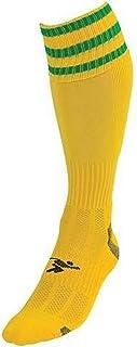 ND Sports, PT 3 Stripe Pro - Calcetines de fútbol, Color Amarillo y Verde