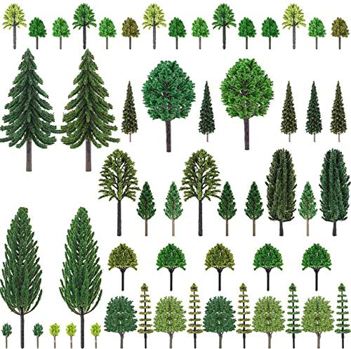 Nilos 55pcs Miniature Trees Mixed Model Trees for Woodland Scenics, Trees for Model Train Scenery, Fake Trees for Projects, Model Scenery with No Bases for DIY Crafts