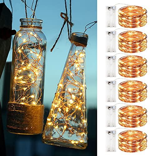 Innotree Aufgerüstet 6er-Pack Lichterketten mit Timer, Batterie Kupfer Drahtlichterkette 3M 30 LEDs Lichterketten Weihnachten Batteriebetrieben Wasserdichte Lichter Flasche Dekoration, Warmweiß