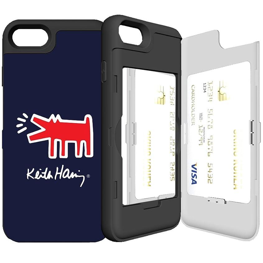 谷メーカー噴出するiPhone7 ケース 《SKINU》 キースへリング?KEITH HARING?カード収納可能?衝撃吸収抜群?傷防止?ミラー付き?スタンド機能?ICカード/クレジットカード完璧収納 (Barking Dog)