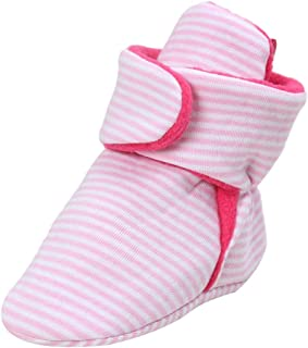 CEOMO Baby Cozy Fleece Booties with Non Skid Adjusts Bottom Warm Slippers Socks Shoes