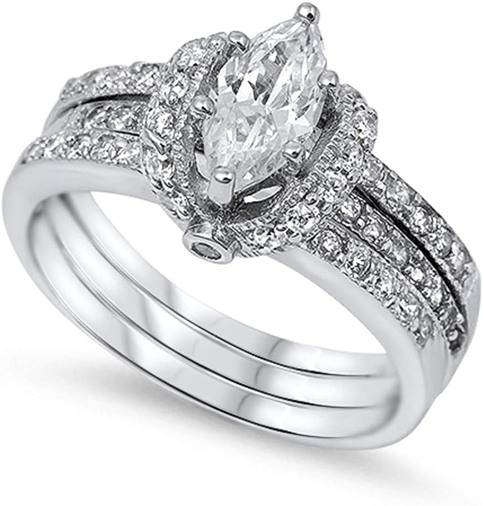 Set of 3 Marquise Center Engagement 9MM All items in the store Sterling Wedding Portland Mall CZ Ring