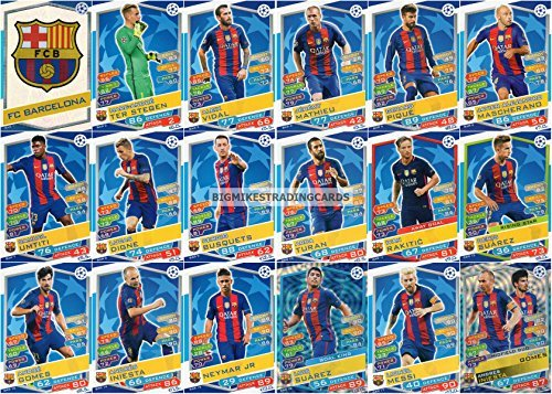 2016/17 MATCH ATTAX CHAMPIONS LEAGUE FC BARCELONA TEAM SET 18 KARTEN