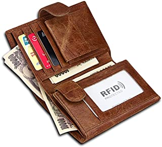 Men's Money Clip Top Layer Leather Retro RFID Fashion Leather Card Bag Trend Front Line for Travel Shopping (Color : Brown, Size : S)