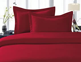 Elegant Comfort 1500 Thread Count Egyptian Quality Super Soft Wrinkle Free 3-Piece Duvet Cover Set, Full/Queen, Burgundy