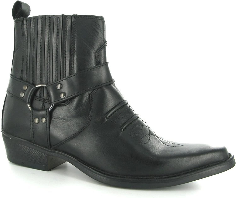 Maverick Mens Soft Leather Ankle Cowboy Boots Black