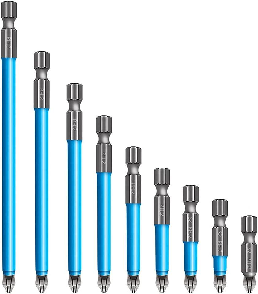 7 Pcs Anti Slip Screw Extractor and Magnetic Screwdriver Bit Set Ph2, Hex Phillips Screwdriver Bits 20-150mm Fits Hand Electric Drill Driver Tools (1 Set)