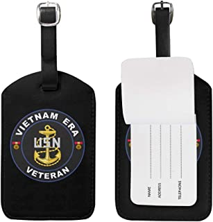 KATE HOLT United States Navy Vietnam Era Veteran Luggage Bag Tags Leather Travel ID Labels Suitcase Name Tags