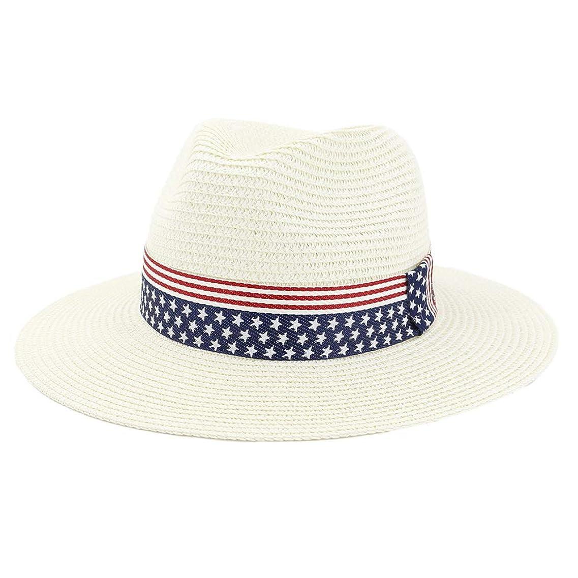コンクリート厚さ書き込みファッションバイザー 夏の紙の麦わら帽子広いつばのビーチの日曜日の帽子の人の女性の英国式ジャズのソフト帽の帽子のカウボーイの日曜日の帽子米国の旗のリボンのシルクハット (色 : クリーム, サイズ : 56-58CM)