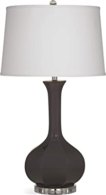 Bassett Mirror L3259TEC Ceramic Sharon Table Lamp, Charcoal