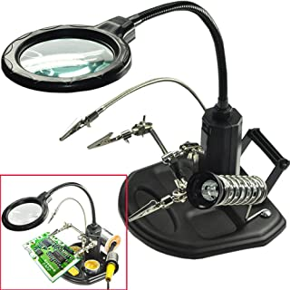 USB Lighted Hands Free Magnifying Glass Stand with Clamp and Alligator Clips Assembly Xiangtat LED Light Helping Hands Magnifier Station Hobby and Crafts Modeling for Soldering Repair