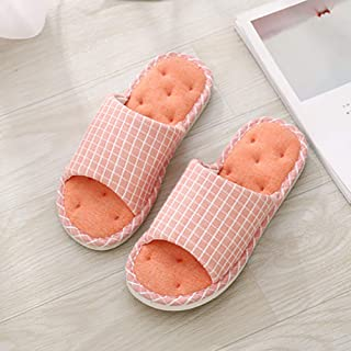 New Couple Autumn/Winter Home Cotton Slippers with PVC Comfortable Soles Suitable for Indoor Warm Slipper,Orange,40~41