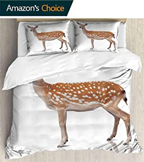 PRUNUSHOME Bedding 3 Piece Bed Sheet Set Spotty Deer is Isolate on White Crisp Bed Linen Twin